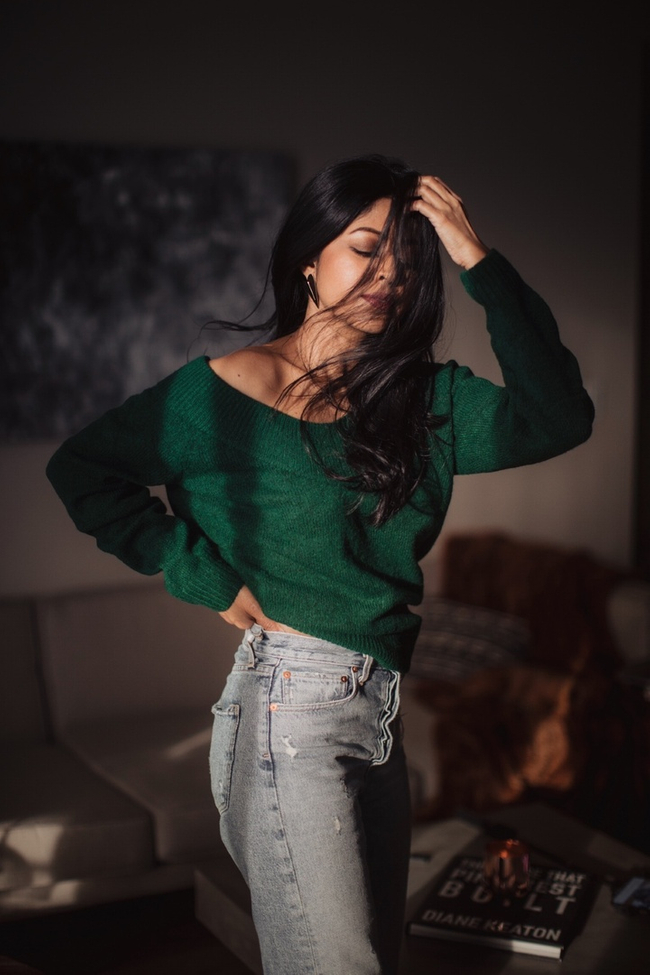 Shop the latest @walkinwonderland in H&M, V-neck Sweater - Green