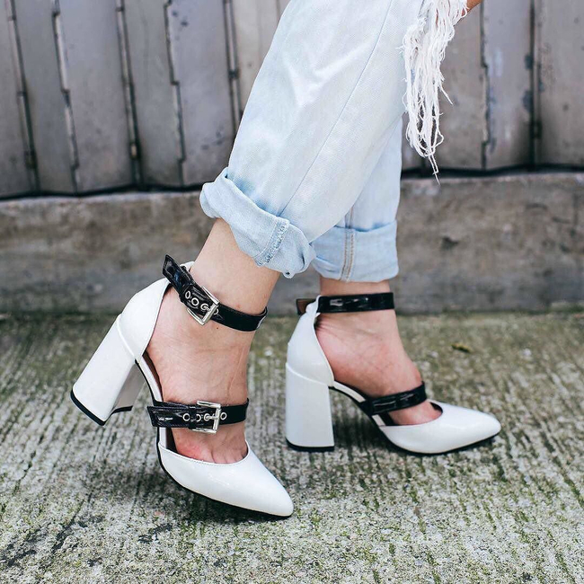 Shop the latest @stlkeditors in TopShop, GUSTO Buckle Strap Block Heels - Monochrome