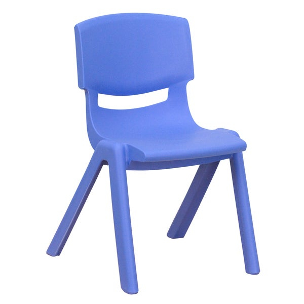 This chair is the perfect size for preschool to kindergarten sized children. Having young children sit in a chair that is designed for them is important in developing proper sitting habits that will last them a lifetime. Not only are these chairs designed properly, but they are lightweight so kids can feel independent by moving the chairs themselves.        Includes: One (1) chair   Chair Type: School Chairs   Material: Plastic   Style: Contemporary   Assembly: Assembled   Dimensions: 13.25 inches wide x 15 inches deep x 22 inches high   Color: Blue, Red, Green