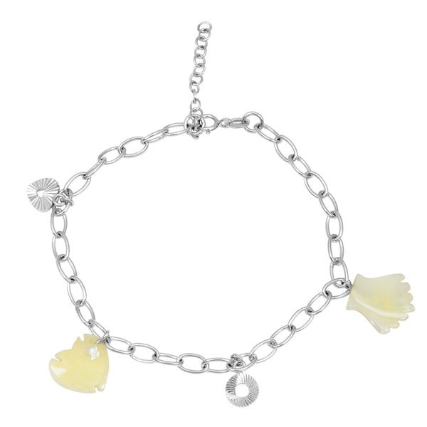 Grace your wrist with the sparkling beauty of this orchid jewelry 925 sterling silver 6 carat mother of pearl bracelet. Bracelet weight is 5.5 Grams yet is simple enough for wear with casual or work attire.        Jewelry Type: Fine   Gender: Female   Stone: Pearl   Clasp: Spring Ring   Bracelet Style: Link   Jewelry Finish: High Polish   Metal Color: White   Metal: Sterling Silver   Length: 7 Inch           All measurements are approximate and may vary slightly from the listed dimensions.