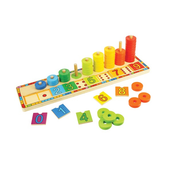 This Bigjigs Toys Learn to Count Puzzle features a fun introduction to mathematics and counting skills as children match the numbered squares to the dots on the base of the puzzle and then count the brightly colored discs as they are placed onto their individual pegs. Helps to develop dexterity and concentration. Made from high quality, responsibly sourced materials. Conforms to current US and European safety standards. Suitable for ages 2 years old and up. Number of pieces - 55. Dr. Toys 10 Best Educational toys.    Match the numbered squares to the dots on the base of the puzzle  Helps to develop dexterity and concentration  Made by BigJigs Toys  Model: BJ531  Made of Wood  Dimensions: 17 inches long x 4.25 inches wide x 4.25 inches deep  Weight: 2 pounds  No batteries required  Recommended for ages 2 years and older
