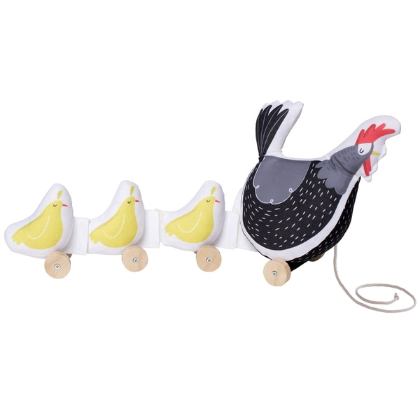 Give your child the gift of simple fun with this Manhattan Toy Farmer's Market chicken pull toy. The soft plush fabric makes the toy safe for infants, while the wooden wheels ensure fun for older children.    Age: Birth - 12 Months  Gender: Unisex  Material: Cotton  Color: Multi  20 inches x 5 inches x 9 inches