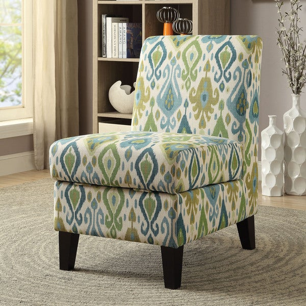 Combine comfort and functionality with this accent chair. The fully upholstered, cushioned chair features storage to keep items hidden yet close, and tapered wood legs provide a stable base for the brightly patterned chair.    Chair Type: Accent Chairs  Material: Fabric, Wood  Style: Casual  Assembly: Assembly Required  Color: Multi  22 inches long x 30 inches deep x 36 inches high           Assembly Required