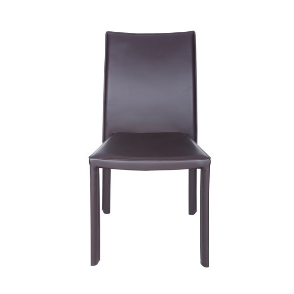 Fully upholstered hard leatherette chair        Chair Design: Side Chair   Chair Type: Dining Chairs, Sets   Style: Modern, Contemporary   Material: Faux Leather, Steel   Assembly: Assembled   Set Size: Set of 4   Back Style: Solid Back   Color: Brown