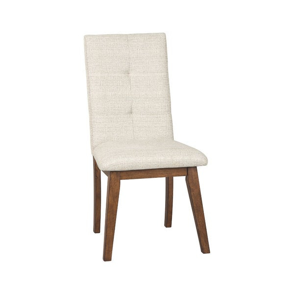 Mid-century design, updated for today's lifestyle. Sleek upholstered dining side chairs come to the table with more than just good looks.      Chair Design: Side Chair  Chair Type: Dining Chairs  Material: Wood, MDF, Metal  Assembly: Assembled  Set Size: Set of 2  Back Style: Solid Back  Finish: Wood Finish  Color: Off-White