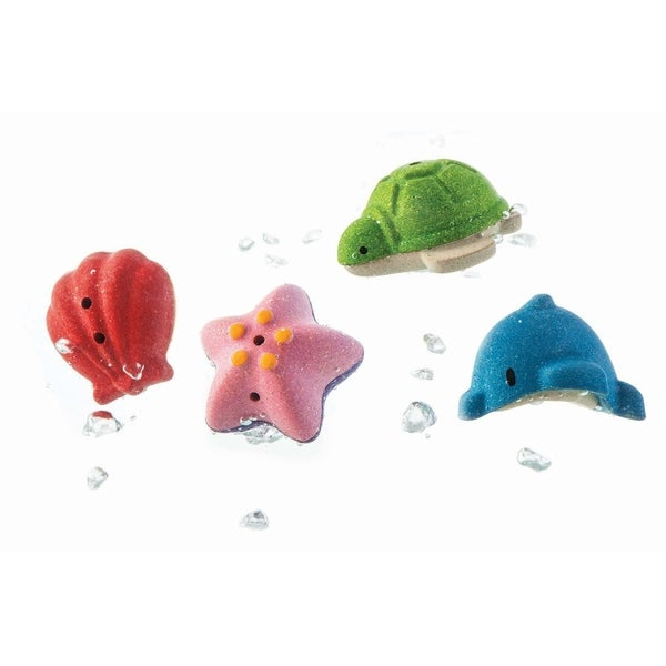 Splash and make waves in the bath with this set. The fun never ends! Float them on the water, fill'em up and squirt the water out. Set of 4 animals: Shell, Starfish, Turtle, and Dolphin. Made in PlanWood. For more than 30 years, PlanToys has been consistently developing its products and activities with a strong commitment to contribute positively to the world. By implementing best practices and taking innovation of toy-making and design to the next level, PlanToys is not only known as being the first company to manufacture wooden toys from preservative-free rubber wood, we are a leading company that has created a new material and process as part of our zero waste goals. Continuing our commitment for a sustainable future, PlanToys has introduced PlanWood as another high quality, safe, and sustainable material in our toy-making process. Set of 4 animals: Shell, Starfish, Turtle, and Dolphin. Float them on the water, fill'em up and squirt the water out. Great tub toy or for water play. For ages 6 months and up.