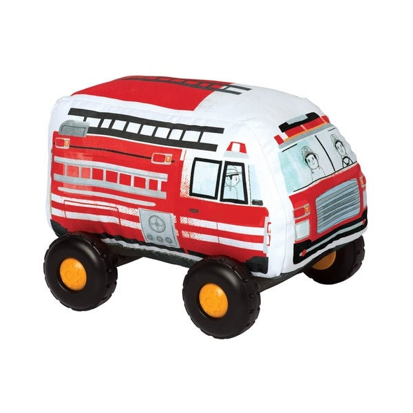"""Introduce your toddler to their first, safe toy vehicle with the Bumpers by Manhattan Toy! With a soft-body and smooth, graphic printed fabric, these durably constructed toy vehicles are ready for whatever your little can throw at them. The wheels on each Bumper vehicle click with every roll and each toy vehicle in the collection features a Velcro-like tag in the front and back - lock them all together for a train-like playset. The current Bumpers lineup includes a toy SUV, Hatchback, School Bus and Firetruck. Let imaginations soar with these entry level toy vehicles! Since 1979, Manhattan Toy has been making award-winning, high quality, educational toys for your baby, toddler or kid. From toddler toys and playsets to trains and toy vehicles, our goal is to provide the safest and best toys available. All of our products, from the newest concepts to our time-tested classics, are innovatively designed to inspire imaginative play and are routinely safety tested to pass strict CPSC, ASTM, EN71 and Health Canada safety standards. Bumper toy vehicles by Manhattan Toy feature a safe, soft-bodied construction with smooth rolling plastic wheels. Bumpers are a perfect first vehicle toy for your little hands-on explorer - no hard angles, sharp pieces or small parts. These toddler toy vehicles are covered in a durable fabric with printed graphics, featuring wheels that click with every roll. Each Bumper vehicle features a Velcro-like strip at the front and back - attach the Bumpers together for a train-like vehicle playset. Bumpers are a suitable toy for ages 1 year and up, each vehicle measures 6.5"""" x 9"""" x 7""""."""