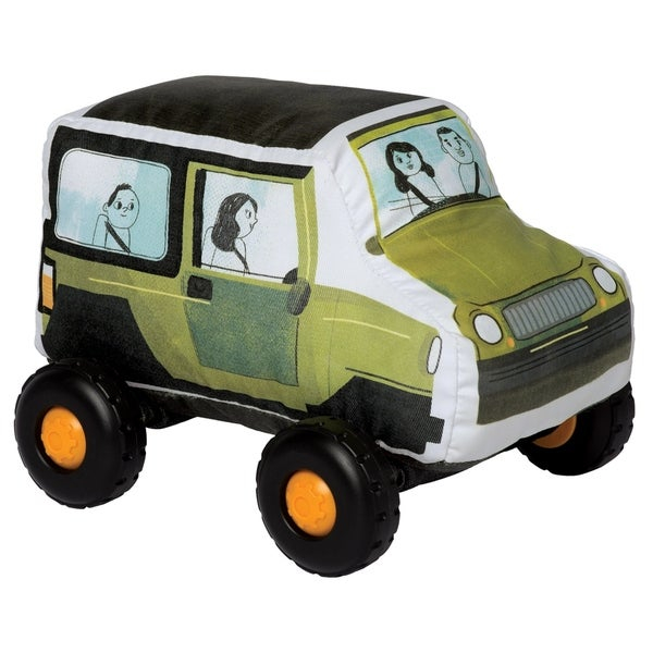 """Introduce your toddler to their first, safe toy vehicle with the Bumpers collection by Manhattan Toy! With a soft-body and smooth, graphic printed fabric, these durably constructed toy vehicles are ready for whatever your little can throw at them. The wheels on each Bumper vehicle click with every roll and each toy vehicle in the collection features a Velcro-like tag in the front and back - lock them all together for a train-like playset. The current Bumpers lineup includes a toy SUV, Hatchback, School Bus and Firetruck. Let imaginations soar with these entry level toy vehicles! Since 1979, Manhattan Toy has been making award-winning, high quality, educational toys for your baby, toddler or kid. From toddler toys and playsets to trains and toy vehicles, our goal is to provide the safest and best toys available. All of our products, from the newest concepts to our time-tested classics, are innovatively designed to inspire imaginative play and are routinely safety tested to pass strict CPSC, ASTM, EN71 and Health Canada safety standards. Bumper toy vehicles by Manhattan Toy feature a safe, soft-bodied construction with smooth rolling plastic wheels. Bumpers are a perfect first vehicle toy for your little hands-on explorer - no hard angles, sharp pieces or small parts. These toddler toy vehicles are covered in a durable fabric with printed graphics, featuring wheels that click with every roll. Each Bumper vehicle features a Velcro-like strip at the front and back - attach the Bumpers together for a train-like vehicle playset. Bumpers are a suitable toy for ages 1 year and up, each vehicle measures 6.5"""" x 9"""" x 7""""."""