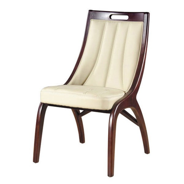 Enhance your home decor with a set of barrel dining chairs     Dining room furniture pieces are made of solid wood and cream-colored leather    Set sold as a set of two (2) dining chairs     Chairs features hand-stitched leather    Measure 35 inches high x 19 inches wide x 23 inches deep      Please note: orders of 125-pounds or more will be shipped via Freight carrier and our Oversized Item Delivery/Return policy will apply.