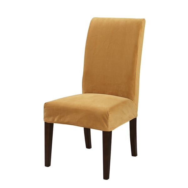 Transform your existing bar stools and chairs with the Powell Parsons Chair slipcover. Made of comfortable velvet, this slipcover will not only make your dining or accent chair more fashionable, but also provides an extra layer of protection.    Materials: 70-percent polyester, 30-percent rayon  Color: Butternut gold  Dimensions: Fits chair sized 20 inches long x 25 inches wide x 41 inches high; seat height 18.5 inches  Fits Powell Parsons Chair, item #741-440; chair is not included       How to Choose a Durable Sofa Slipcover