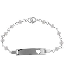 Give your little one style with this child's freshwater pearl bracelet  Bracelet features ID charm with heart cutout and circle-spring clasp  Polished sterling silver is accented with freshwater pearls  Measures 5.5 inches long     All carat weights and measurements are approximate and may vary slightly from the listed dimensions.  Treatment code D. See      Gemstone Treatments   for further information.         All measurements are approximate and may vary slightly from the listed dimensions.
