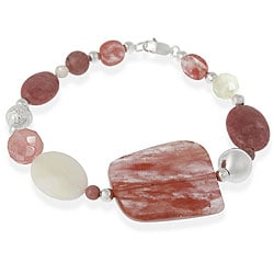 Fashionable bracelet features a mixture of cherry quartz, mother of pearl and Rhodonite stones in various shapes and forms   Sterling silver beads in both polished and diamond-cut forms complement the bracelet   Bracelet secures with a lobster claw clasp   Tarnish resistant sterling silver   Natural stone and bead shapes   Bracelet measures 7.5 inches long       All carat weights and measurements are approximate and may vary slightly from the listed dimensions.  Treatment code N (mother of pearl, rhodochrosite) and D (cherry quartz) . See         Gemstone Treatments   for further information.       Click here for additional buying information