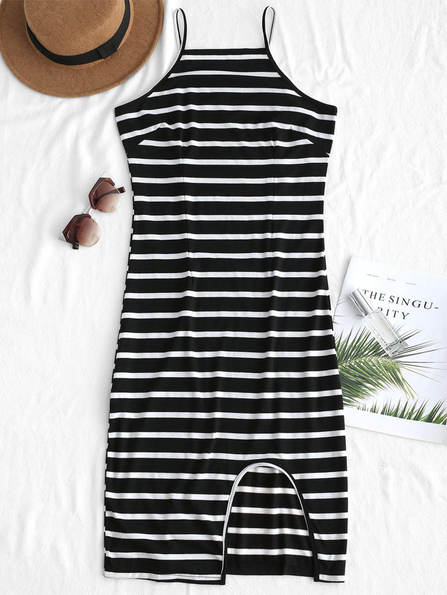 Style: Brief Occasions: Casual Material: Cotton, Polyester Silhouette: Straight Dress Type: Slip Dress Dresses Length: Knee-Length Collar-line: Spaghetti Strap Sleeves Length: Sleeveless Pattern Type: Striped Elasticity: Elastic With Belt: No Season: Fall, Summer Weight: 0.2600kg Package: 1 x Dress
