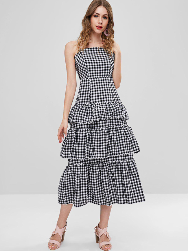 Style: Casual Occasions: Casual, Day Material: Polyester Silhouette: A-Line Dress Type: Layered Dress, Slip Dress Dresses Length: Mid-Calf Collar-line: Spaghetti Strap Sleeves Length: Sleeveless Decoration: Flounce Pattern Type: Gingham With Belt: No Season: Summer Weight: 0.3730kg Package: 1 x Dress