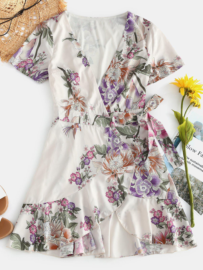 Style: Casual Occasions: Casual Material: Polyester Silhouette: A-Line Dress Type: Wrap Dress Dresses Length: Mini Collar-line: V-Collar Sleeves Length: Long Sleeves Decoration: Flounce Pattern Type: Floral With Belt: No Season: Fall, Spring Weight: 0.2000kg Package: 1 x Dress