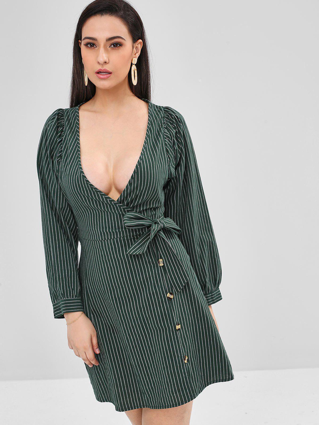 Style: Brief Occasions: Casual, Day, Going Out Material: Polyester Silhouette: A-Line Dress Type: Wrap Dress Dresses Length: Mini Collar-line: Plunging Collar Sleeves Length: Long Sleeves Pattern Type: Striped With Belt: No Season: Fall, Spring Weight: 0.3700kg Package: 1 x Dress