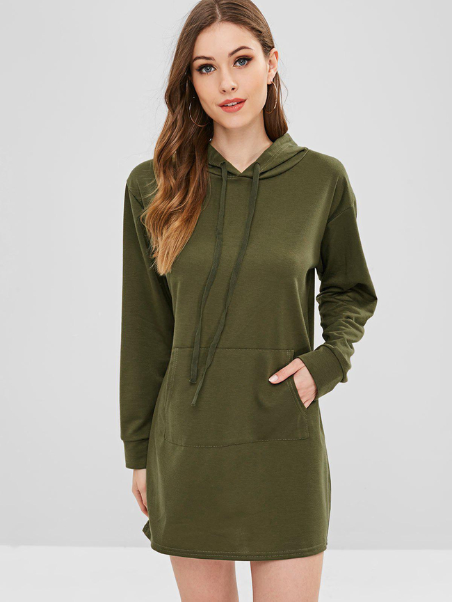 Style: Casual Occasions: Casual Material: Polyester Silhouette: Straight Dress Type: Hoodie Dress Dresses Length: Mini Collar-line: Hooded Sleeves Length: Long Sleeves Decoration: Front Pocket Pattern Type: Solid Elasticity: Elastic With Belt: No Season: Fall, Spring Weight: 0.3900kg Package: 1 x Dress