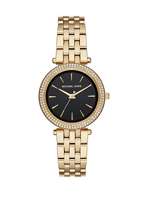 From the Mini Darci Collection. Glamorous petite stainless steel watch with iconic logo detail. Round polished stainless steel case. Black sunray dial. Goldtone bar indexes. Second, minute and hour hands. Pave crystal topring. Three-link stainless steel bracelet. Bracelet deployant. Imported.