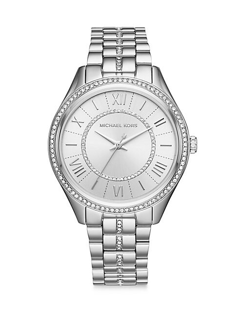 From the Lauryn Collection. Sleek, elegant glitzy stainless steel three-hand watch. Round polished stainless steel case. White dial. Pave inner dial ring. Roman numeral indexes. Second, minute and hour hands. Sparkling crystal topring. Three-link stainless steel bracelet. Bracelet deployant. Imported.