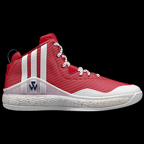 John Wall's first signature basketball shoe is designed and engineered to compliment his quick style of play on the court. Unique air mesh upper for comfort and breathability. Rip-stop overlays for enhanced durability. Full-length adiprene+ cushioning midsole for enhanced responsiveness, comfort, and heel-to-toe transition, so you can explode off the floor and come down to a soft landing. Full-length lateral FITFRAME for a more controlled surface for you to plant against during explosive cuts. Double sided synthetic fit element wraps your foot during crucial changes in direction to give you the support you need to be at your best. Solid rubber outsole with a map of the United States with Wall written across the left and right shoe, highlighting Washington DC with lines connecting to every team's city on the map. Wt. 14.1 oz.